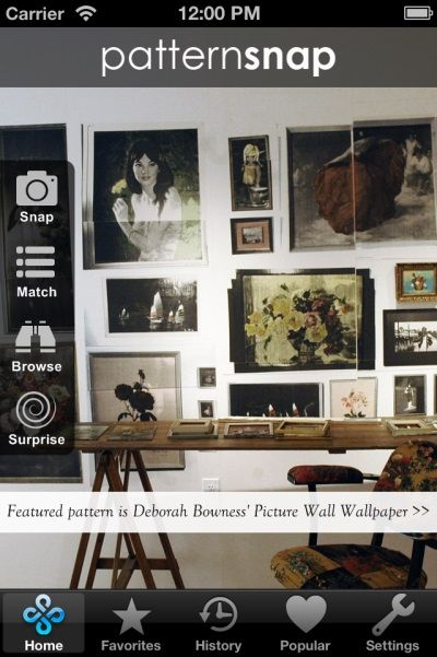 7.4.14 - Today's Featured pattern is Deborah Bowness' 'Picture Wall' Wallpaper. See details and colorways on the free patternsnap iphone/iPad app for interior wallpaper and fabric patterns : www.patternsnap.com