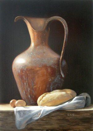 Eggs etc.  Oil on canvas, 70x50 cm  by Cornelia Rijkaart van Cappellen