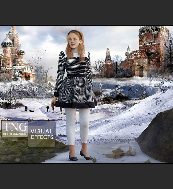 Our model Evelyn was 3D scanned and here we posed her in Russia. She could be a character in TV, Film, or an episodic.