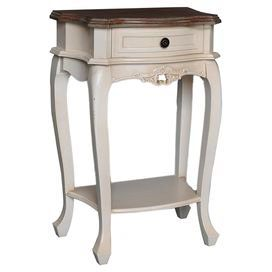 Bring a touch of country style to your master suite or study with this elegant side table, featuring 1 drawer. Team with neutral decor, mismatched ceramics and weathered wood furniture to complete the look.  Product: Side tableConstruction Material: Chinese fir and engineered woodColour: Antique whiteFeatures: One drawerDimensions: 73 cm H x 49 cm W x 32 cm D