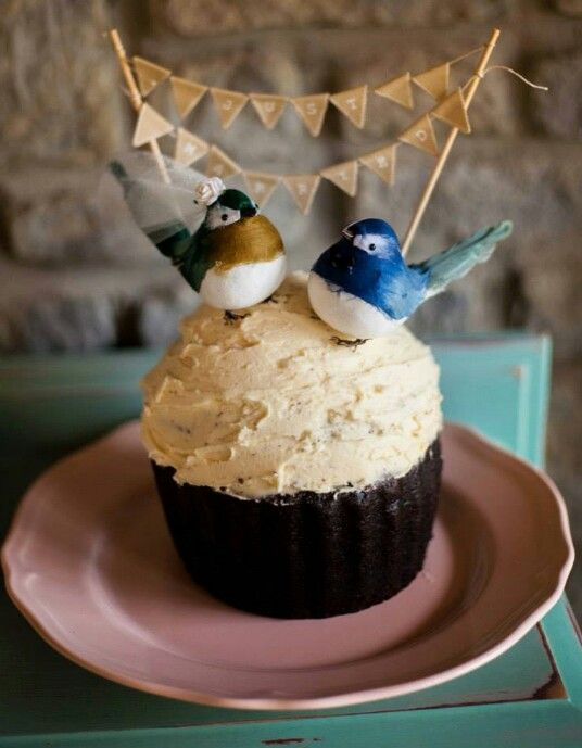 Giant Cupcake Wedding Cake Top with Love Birds