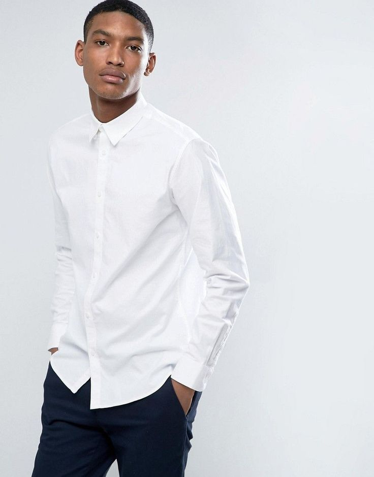 Selected Homme Slim Oxford Shirt with Stretch - White