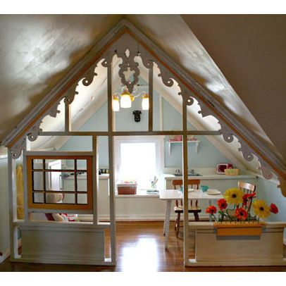 Attic playhouse - one end of an attic playroom