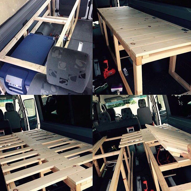 Hey IG campers! FOR SALE: decided to build my bed into a loft bed with a lower garage. Will sell my current pullout structure cheap. Local sale only.. I am in Carlsbad CA. Wood only no cushion. Thanks! by vanartman