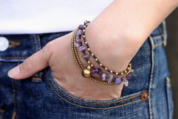 Amethyst Brass Chain bracelet by XtraVirgin on Etsy, $8.00