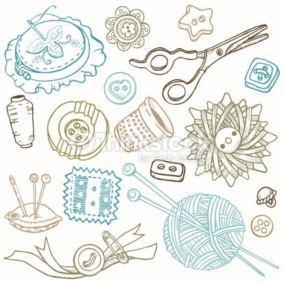 Vector Art : Doodled Sewing Elements