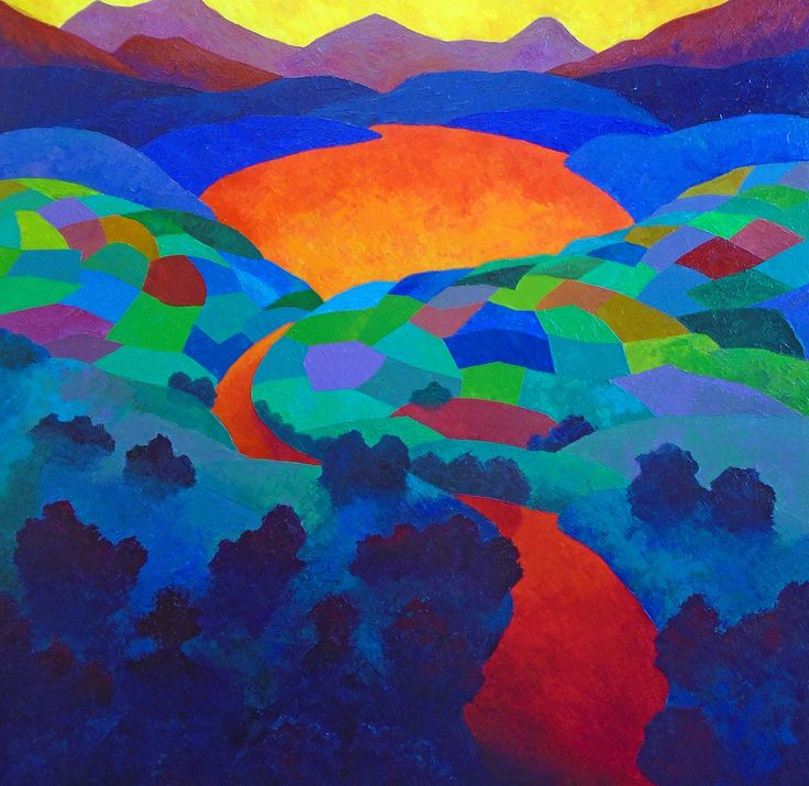 FINEARTSEEN - View By Dawns Early Light by Stephen Conroy. A vibrant colourful original abstract landscape painting. Available on FineArtSeen - The Home Of Original Art. Enjoy Free Delivery with every order. >
