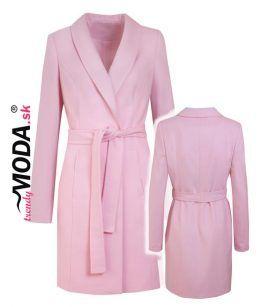 Ružový jarný dámsky kabát – trendymoda.sk