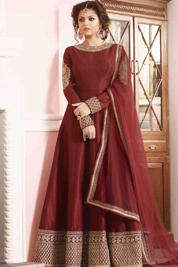 Red Silk Semi Stitch Anarkali Suit More