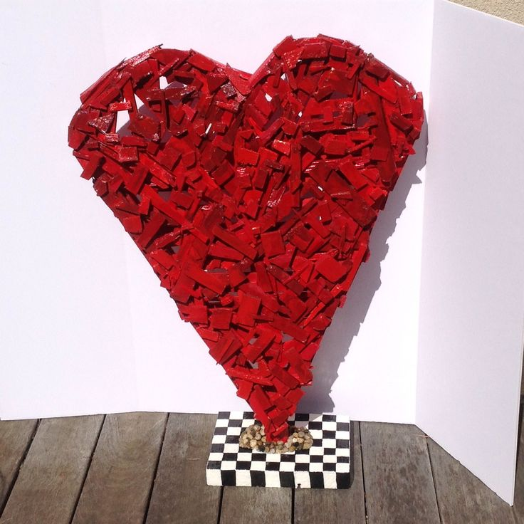 A ginormous red heart made from reclaimed wood scraps. Gives a broken heart new meaning!