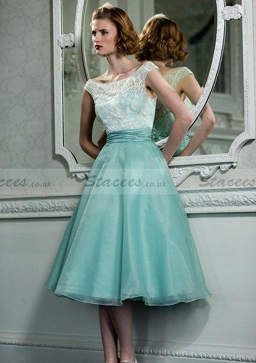 Aqua Organza Bridesmaid Dresses