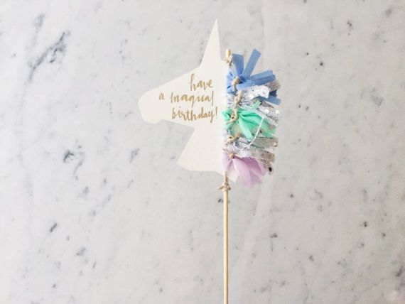 Cake Topper / Gold Modern Calligraphy / Custom Hand Lettered / Silver Lilac Blue Mint / Mini Tassels / Unicorn Mane Pastels /