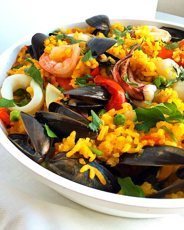 Easy One Skillet Seafood Paella - Baked Ambrosia