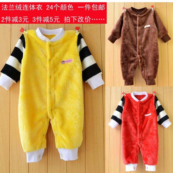 Свободного падения и зимней одежды младенца младенца перевозка груза фланель с длинными рукавами трико Romper новорожденных одежда пижамы белье сфотографированных