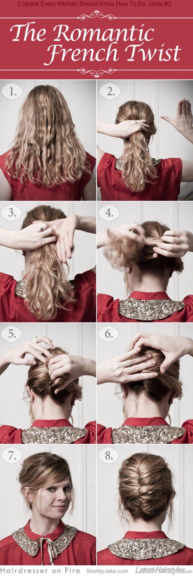 こちらは一人でフレンチツイストをやる場合の簡単バージョン。準備は上と同じく髪の毛をカールにすることから初めて、低めのポニーテールの位置から一気に髪の毛をネジネジとツイストして折り畳み、ピンで留める方法です。折りたたんだツイストをしっかり持ちながら作業すると意外と 簡単にできますよ。