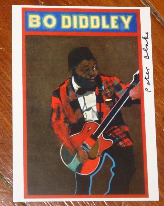 PETER BLAKE ~ BO DIDDLEY ~ VERY RARE HAND SIGNED POP ART POSTCARD ~ THE BEATLES | eBay