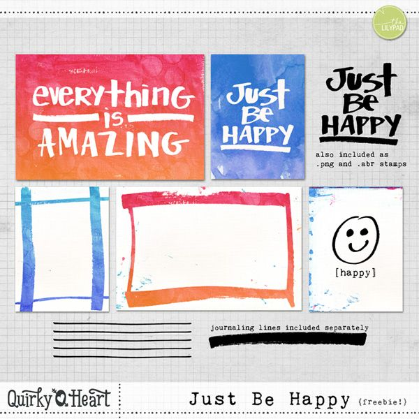 Free Just Be Happy Journal Cards and Stamps from Quirky Heart/Michele Godin Designs {on Facebook}