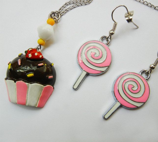Jewelry Set. Cupcake Chain Necklace & Swirly Lollipop Hook Earrings. Silver Jewellery. Super Cute. by FoxliciousDesign on Etsy