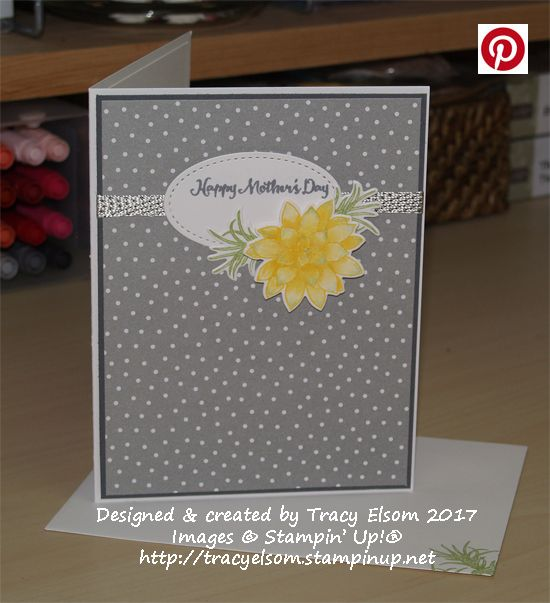 Mother's Day card created using the Oh So Succulent Stamp Set and Succulent Framelits Dies from the Stampin' Up! 2017 Occasions Catalogue.  http://tracyelsom.stampinup.net