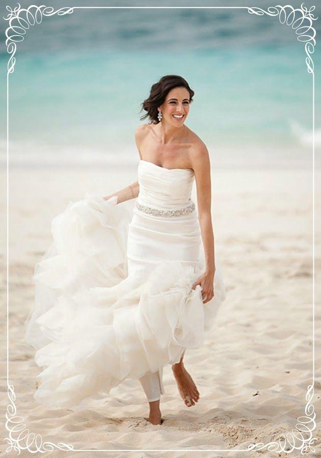 White Long Beach Wedding Dress