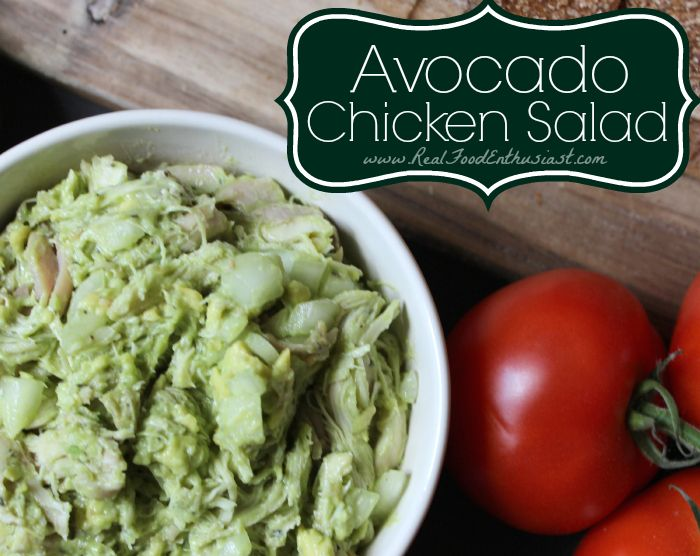 Avocado Chicken Salad Sandwich - top with tomato and spinach 2 cups leftover cooked chicken, shredded 1 avocado 1/4 cup onion, diced juice from 1/2 lime 1 tablespoon dried basil leaves salt&pepper 2 tablespoons plain yogurt (optional)