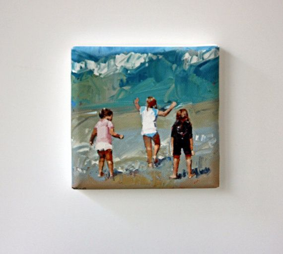 Tiny Canvas  Braving The Waves  Beach Art  by ClaireMcCallArt