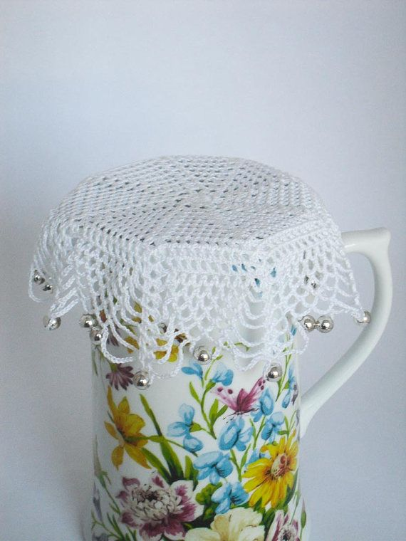 White Crochet Beaded Jug Cover with Silver by crochetbypamela