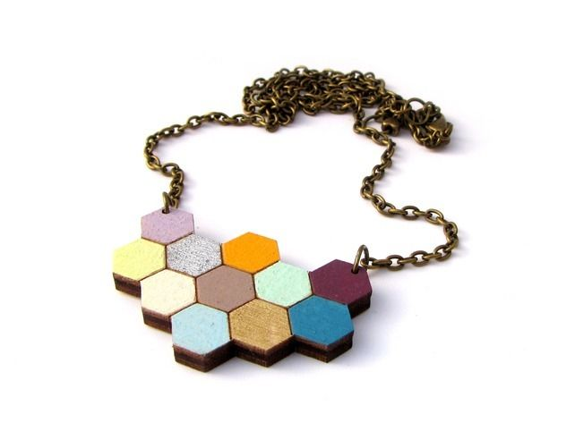 Floral 'Apis' Wooden Honeycomb Hexagon Necklace #lasercut by Red Paper House