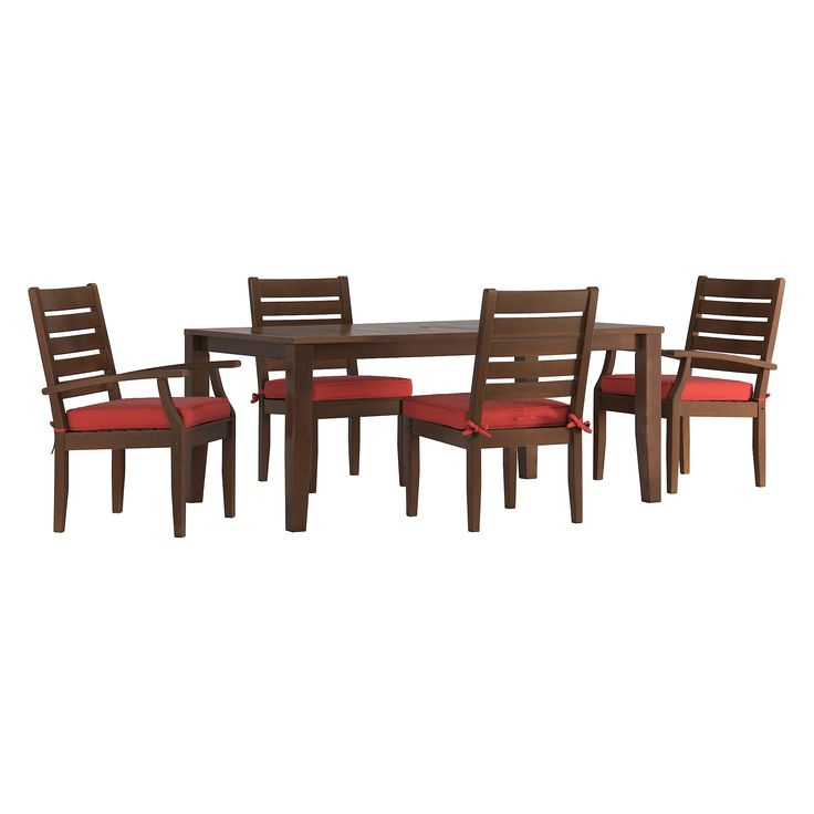 Parkview 5pc Arm And Side Wood Patio Rectangle Dining Set with Cushions - Brown/Red - Inspire Q