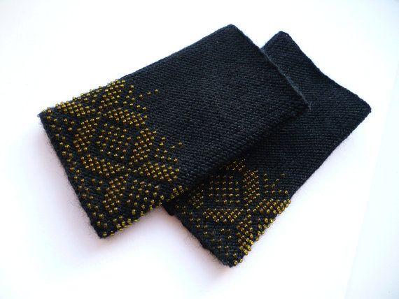 Black wrist warmers Wool wrist warmers Beaded wist by InColours, $25.00