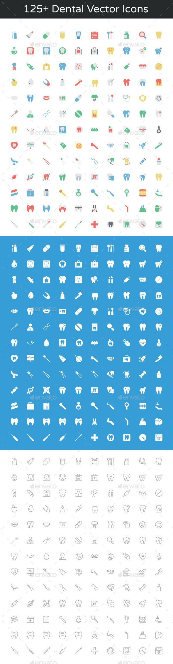 125+ Dental Vector Icons — Photoshop PSD #dental clipart #set of dentist icons • Available here → https://graphicriver.net/item/125-dental-vector-icons/11893831?ref=pxcr
