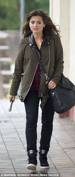 Double take? Dr Who fans flocked to see actress Jenna Coleman filming a daredevil motorbik...