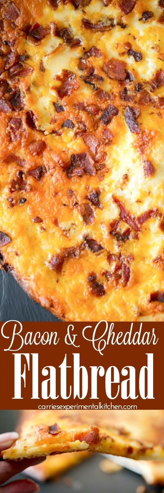 Bacon & Cheddar Flat Bread -- made with your favorite pizza dough, crispy crumbled bacon and shredded sharp Cheddar cheese w/creamy horseradish sauce.