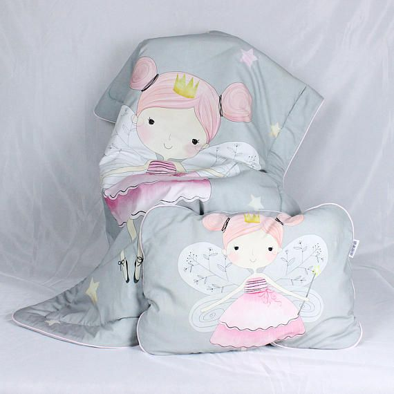 Baby Girl Bedding Set for a crib Fairy Fay Grey Rose  Nuva
