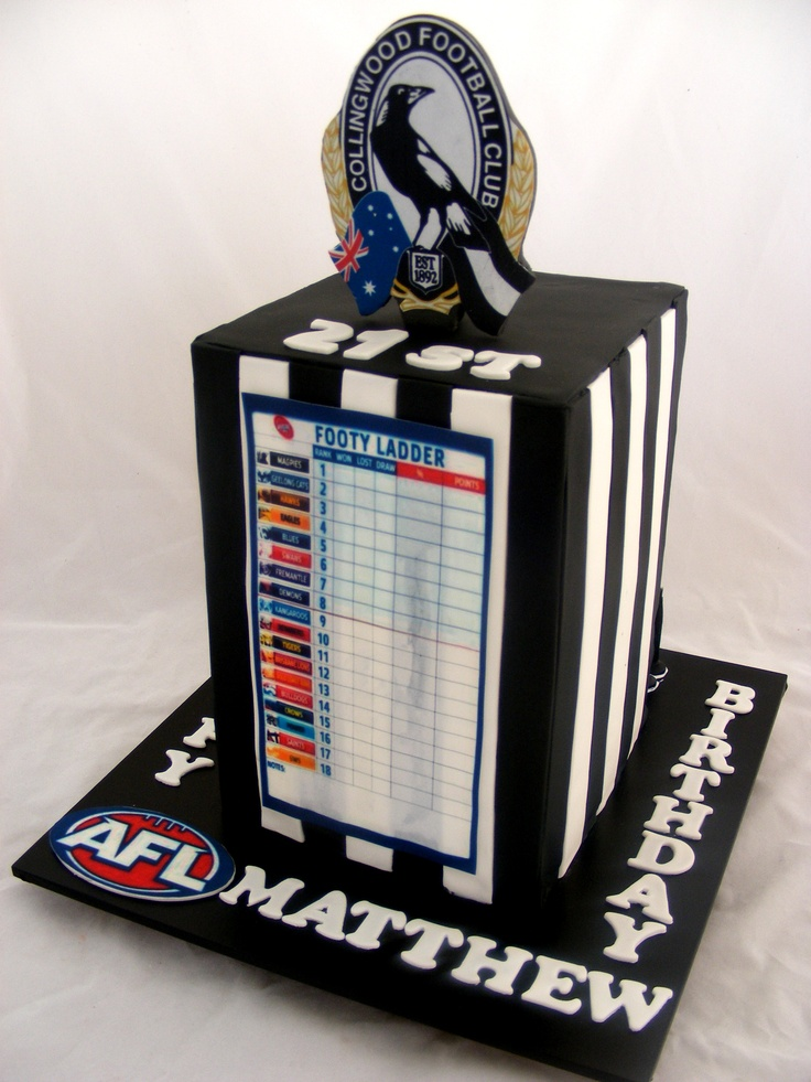 3D Collingwood Footy Ladder Cake by My Cake Place http://www.mycakeplace.com.au/ https://www.facebook.com/MyCakePlace