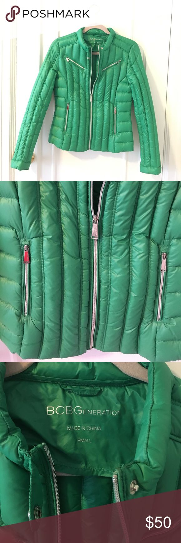 Green BCBG Jacket This jacket is so soft and in great condition! Worn once on St. Patrick's Day :) I love the bright silver zippers! BCBGeneration Jackets & Coats Puffers