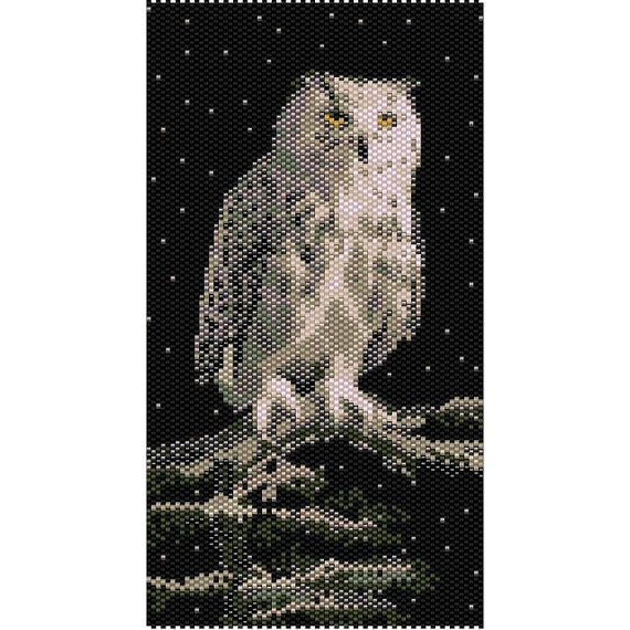 Snowy Owl Tapestry Peyote Bead Pattern, Seed Beading Pattern Miyuki Delica Size 11 Beads - PDF Instant Download  This is a larger complete owl pattern of the cuff version. Pattern is designed with Miyuki Delica seed beads size 11/0. You may change any colors and use any beads you wish.  INFO FOR THIS PATTERN: Length: 6.99in (101 rows) 17.75cm Width: 3.72in (70 columns) 9.45cm Colors: 13 Technique: even peyote  THIS PDF PATTERN DOWNLOAD INCLUDES:  COLOR IMAGE OF THE PATTERN CUSTOM BEAD…