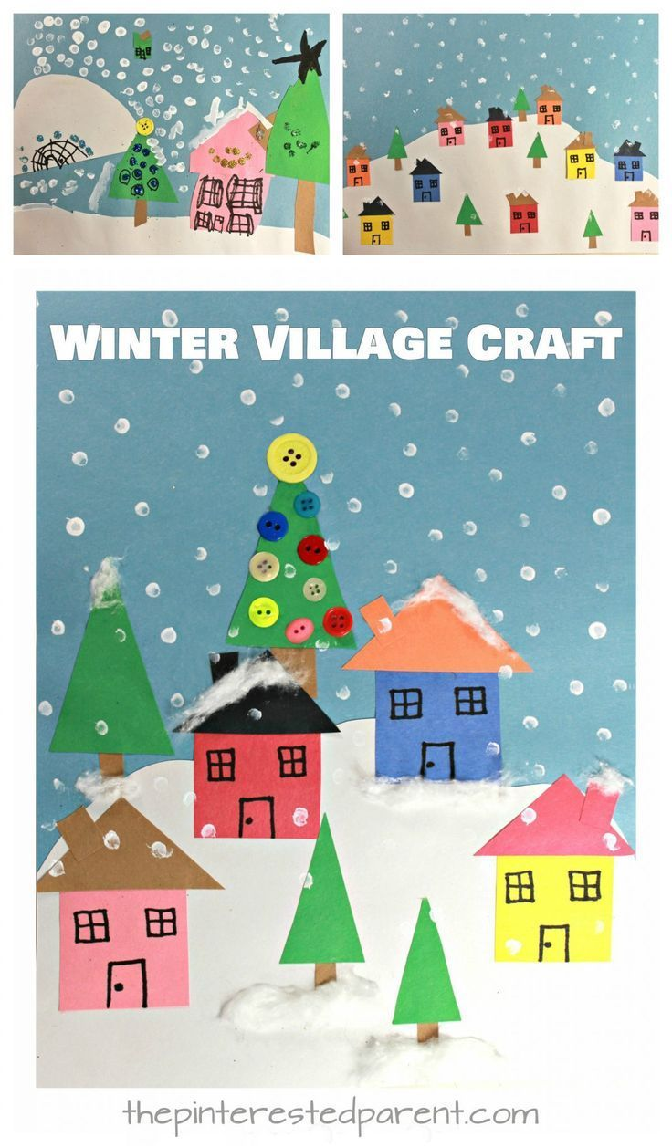 Create these lovely winter Christmas villages with simple shapes and craft materials. Kid's arts and crafts for the holidays with construction pape… | Pinterest