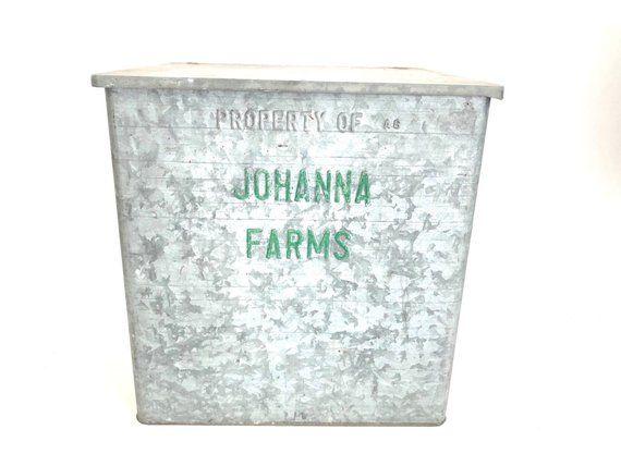 Johanna Farms Galvanized Milk Box Vintage Milk Box Porch Cooler Large Size Milk Box Container Vintage Boxes Wooden Galvanized Milk Box