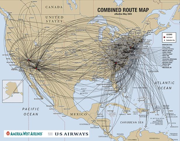 How US Airways Route Map Makes Upgrading With Miles A Great - Us airways destinations map