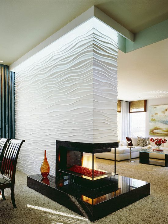 wall between dinning room and living room | Textures For Walls As Room Divider With Fireplace Between Living Room ...