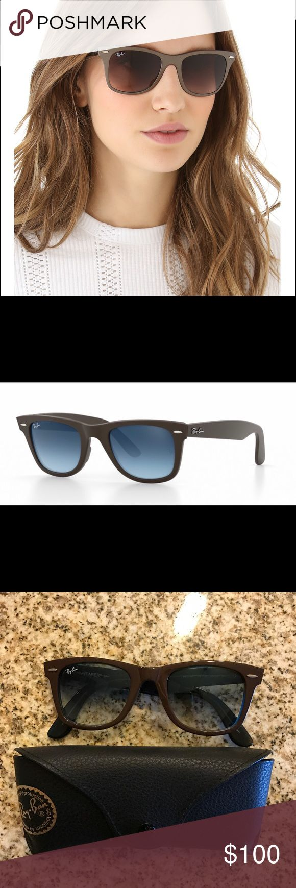 Ray Ban Brown/Blue Wayfarer Ray Ban Original Wayfarer. Frames are brown exterior with blue interior. Lenses are gradient blue. New in case/never worn. Ray-Ban Accessories Sunglasses