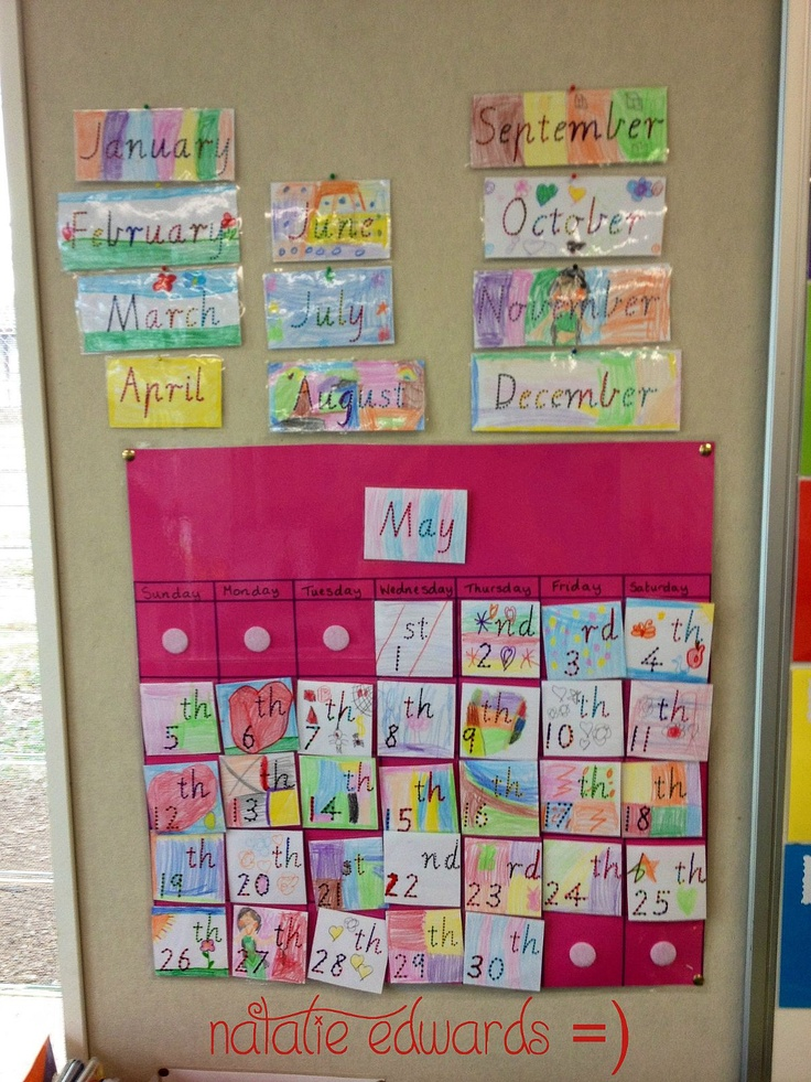 This is an interchangeable calendar I made with my students for a time lesson during Maths. Each student also made a card with their birthday to add to the calendar, as well as other personalised dates.