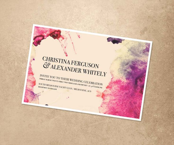 Printable Digital File - Watercolour Wedding Invitation - Print At Home Wedding Invitation - Pretty Design Wedding Invite by PaperCrushAus on Etsy