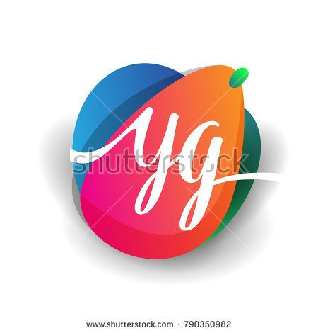 Letter YG logo with colorful splash background, letter combination logo design for creative industry, web, business and company.