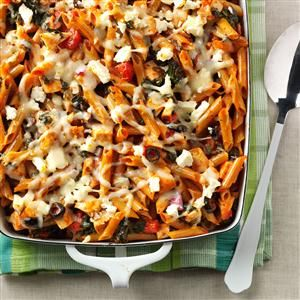 Contest-Winning Greek Pasta Bake Recipe- Recipes  I've brought this hot dish to potlucks and it received rave reviews. There's never a crumb left. Best of all, it's a simple, healthy and hearty supper made with easy to find ingredients. —Anne Taglienti of Kennett Square, Pennsylvania