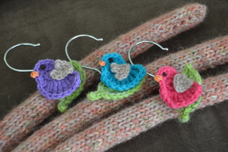 Knitting Coat Hangers : Knitted coat hangers with birdie crochet motifs sew thea