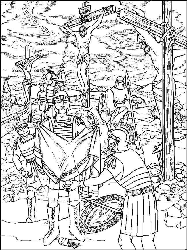 soldaten verloten kleren van jezus adult coloringcoloring pagessunday schoolchildrens bibleeaster craftschrist