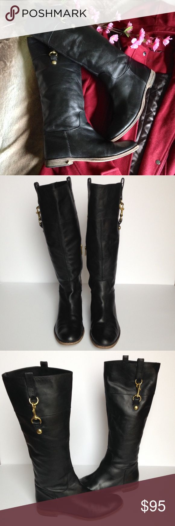 Coach Martta Soft Leather Riding Boots With the Coach Martta boot, the timeless riding boot gets an exquisite update in luxuriously supple artisanal leather. The refined silhouette looks tall and elegant with a minimal heel and leather pull-tabs, accented by a gleaming dogleash accent. --- Super cute boots in good pre loved condition, shows some wear as pictured, have been properly cleaned and shined. Size 8.5. I happily entertain reasonable offers 😊🌸 Coach Shoes Winter & Rain Boots