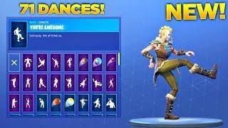 new huntress skin showcase with all 71 fortnite dances emotes fortnite season 5 skin - yeet fortnite dance